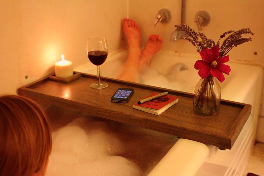Taking A Bath With Bath Reading Tray