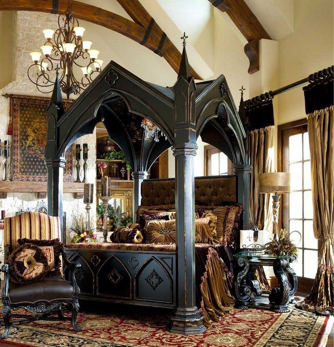 beautiful-modern-gothic-victorian-bedroom-with-unique-dark-canopy-bed
