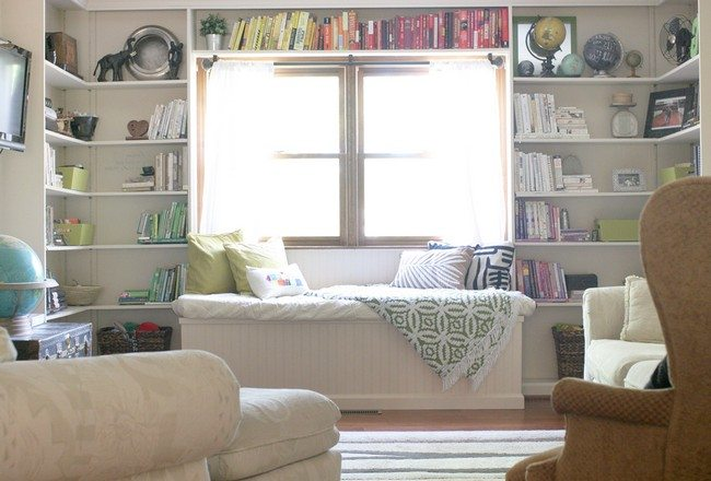 library at home above white cushion set