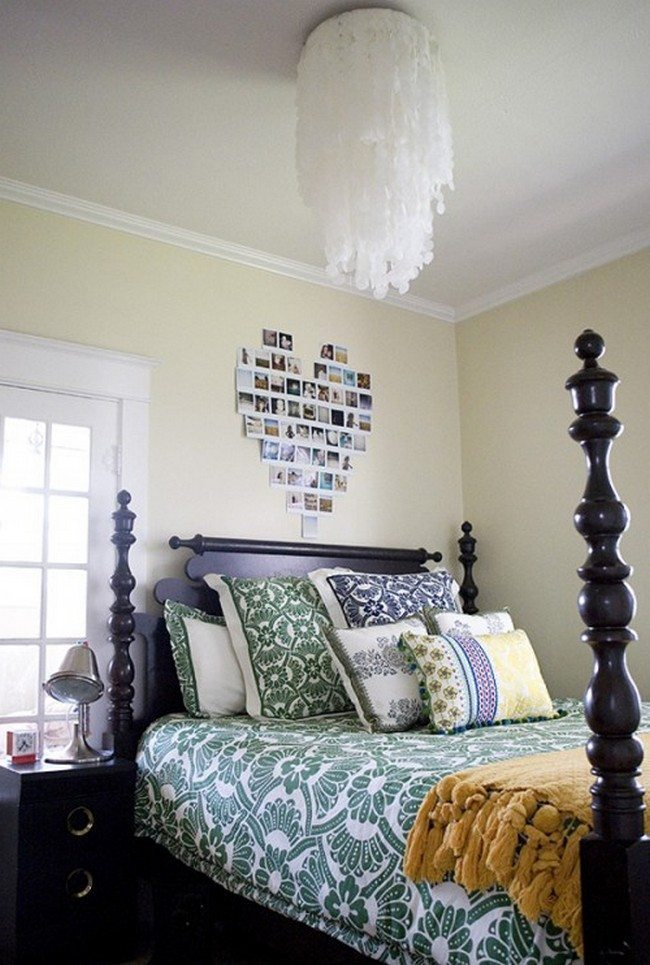 yellow walls in the bedroom with double high bed