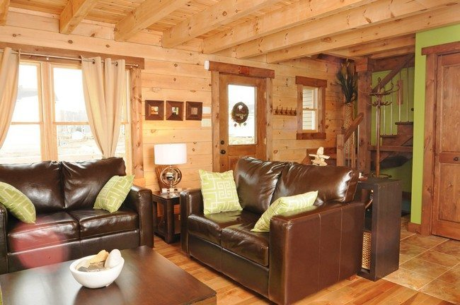 modern design ot he wooden hall with brown 3seater sofa