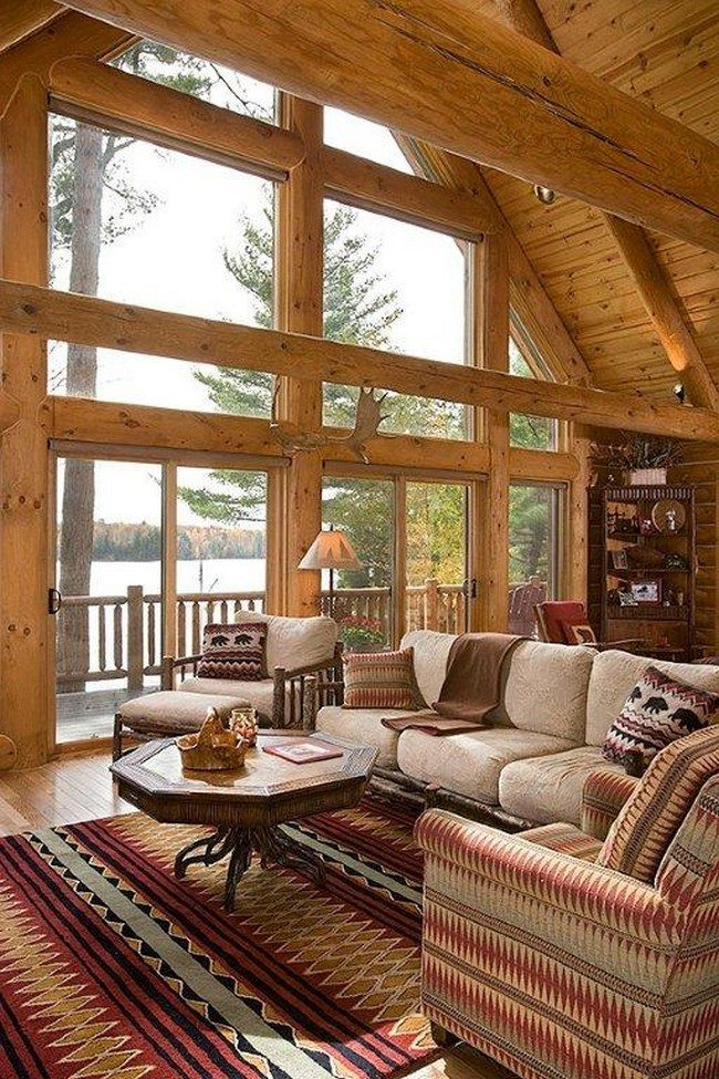 Log cabin decorating ideas decor around the world for Interior design 70s house