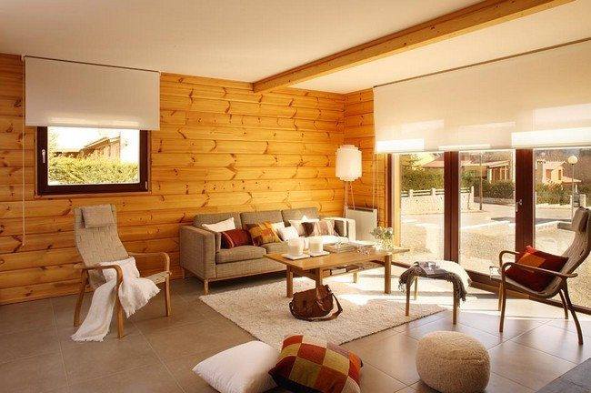 one wooden wall in the room looks nice