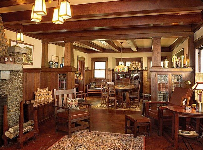 Living Room Of Craftsman Design Wooden Floor Aand Table With Chairs