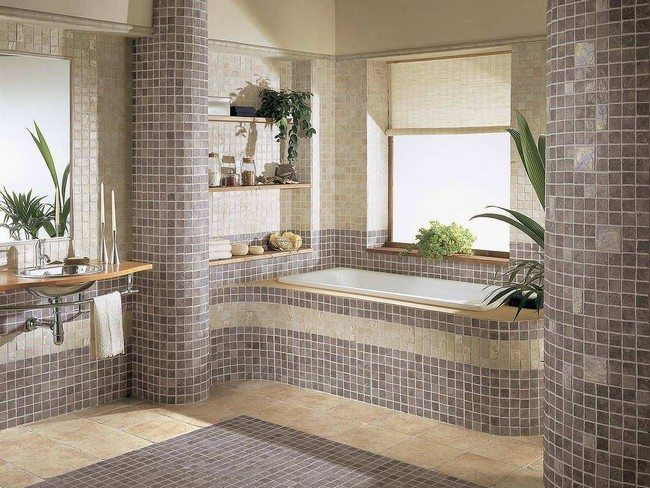 mosaiks made bathroom with bamboo