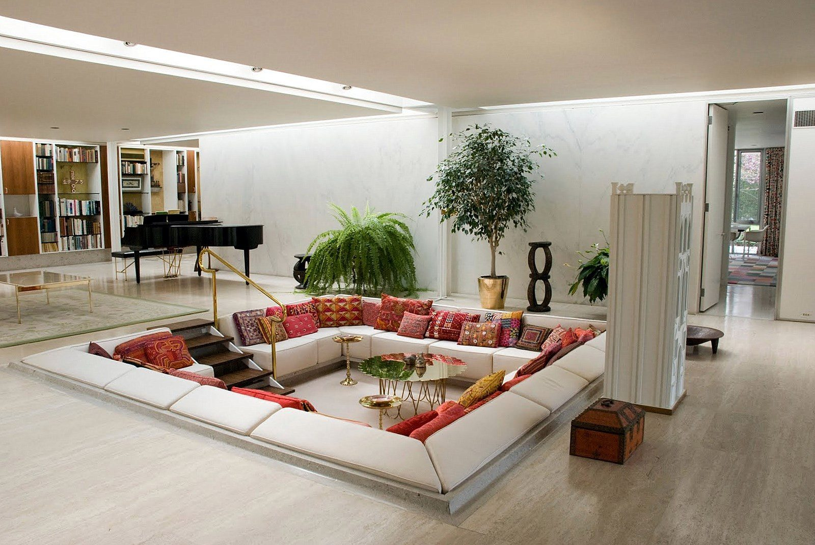 Captivating Floor Seating White Sofas In The Middle Of The Room