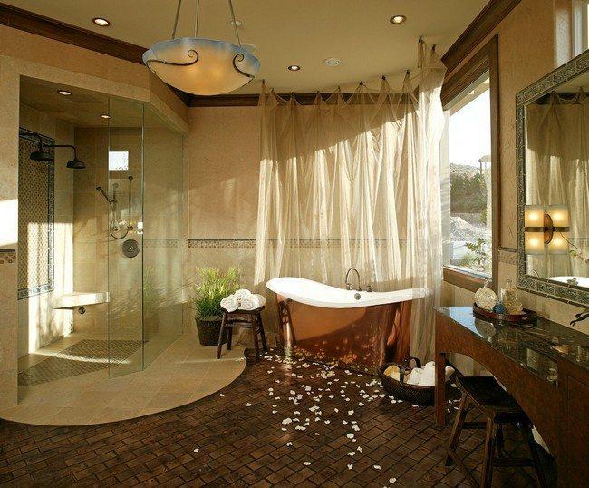 Appealing Bathroom Mediterranean tropical design stone floor divided into pieces