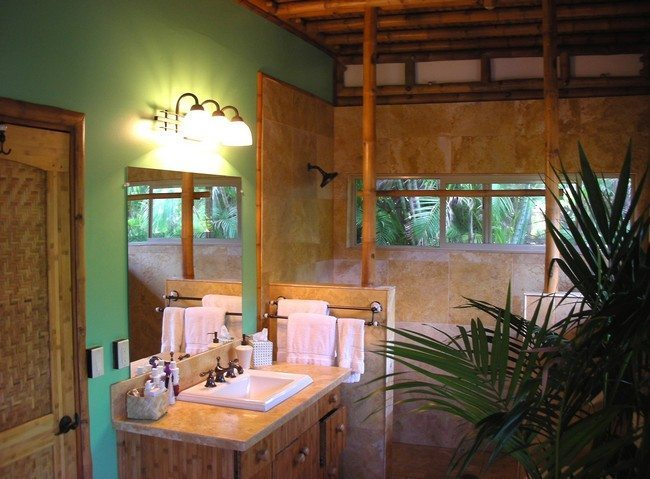 Bathroom With The Ceiling Made From Bamboo