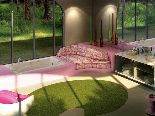 pink bathroom with green carpet on the floor. arch windows made from birch