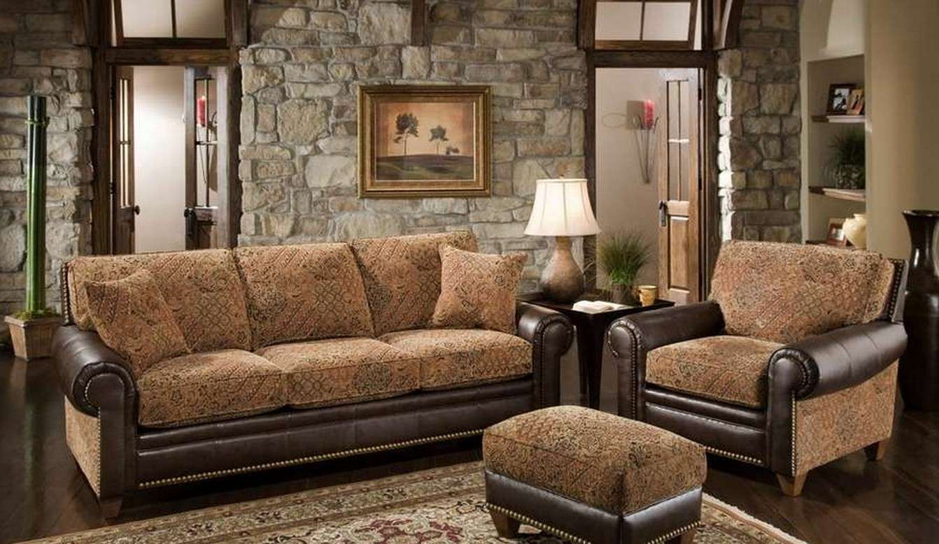 Brown Seating Sofa And chairs for Rustic Stone Living Room Decor with Ethnic Carpet and Lamp Shade