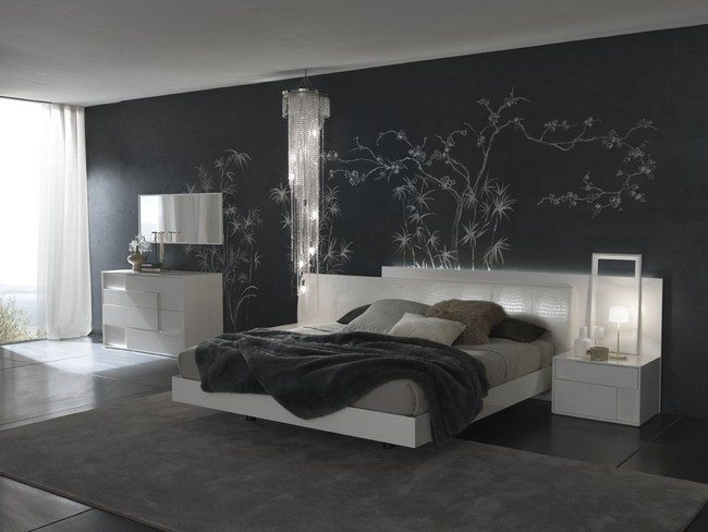 white and black style bedroom with ornament on the wall