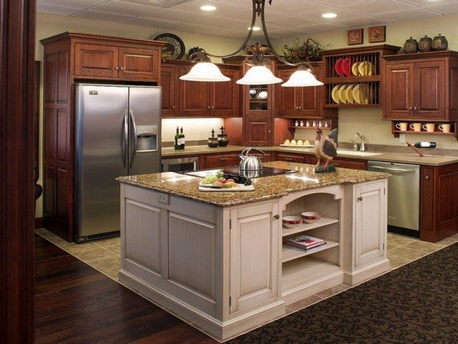 Kitchen-Furniture-Regal-Glass-Funnel-Black-Iron-Island-Pendant-Lamps-Over-White-Square-Marble-Tops-Kitchen-Island-Ideas-With-Shelves-Storage-Added-L-Shaped-