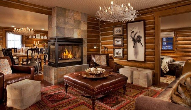 Luxurious Rustic Living Room Decor with Brown Ottoman Table and Eastern Ethnic Carpet uder Unique Chandelier Corner fireplace