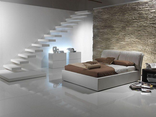 double bed idea with brisck wall and white ledder leading to a basement