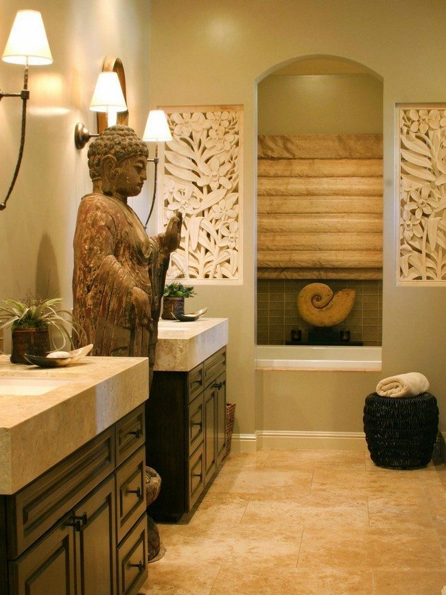 big statue of the buddha in the bathroom