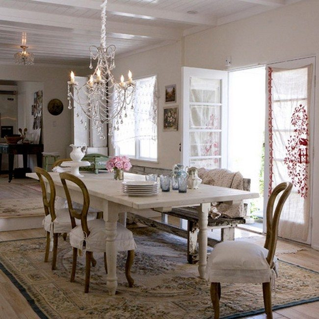 shabby style kitche. white pillows on the chairs, orint othnament carpet on the floor