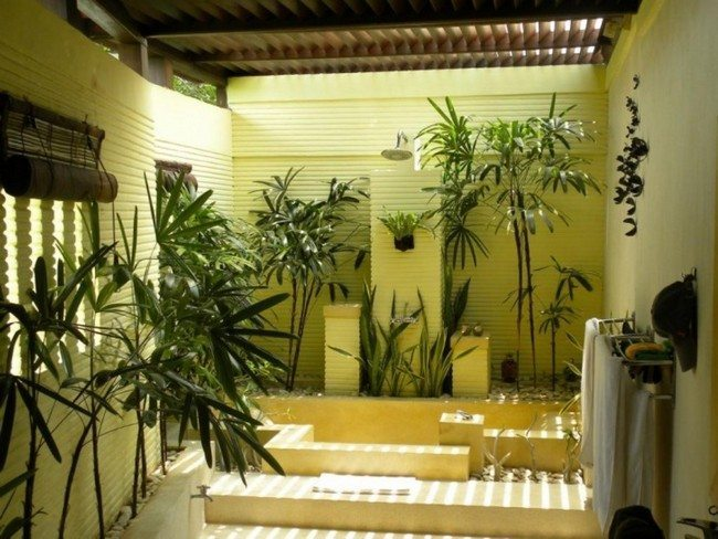 wooden floo and ceiling in the bathroom. tropical ...