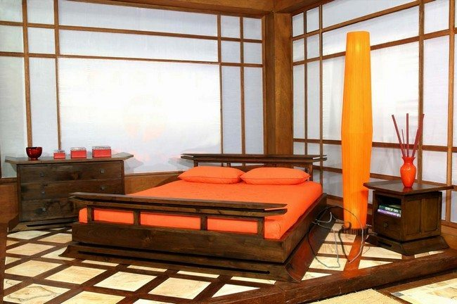 Double Wooden Bed And Square Decor Of The Japanese Stylr