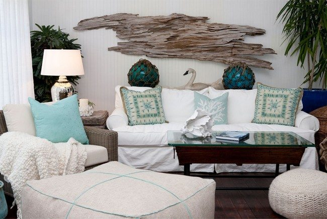 beach inspired living room with swan on the back of the sofa