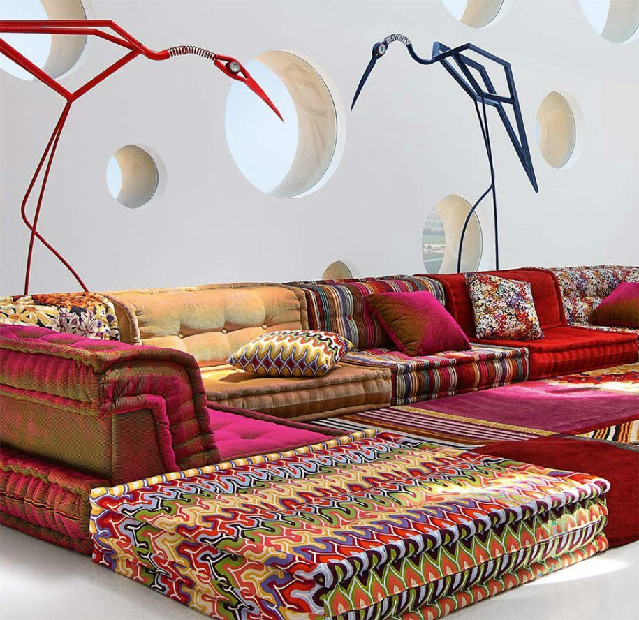Multicolours Soafas On The Floor With Cushions Aand Pillows Part 37