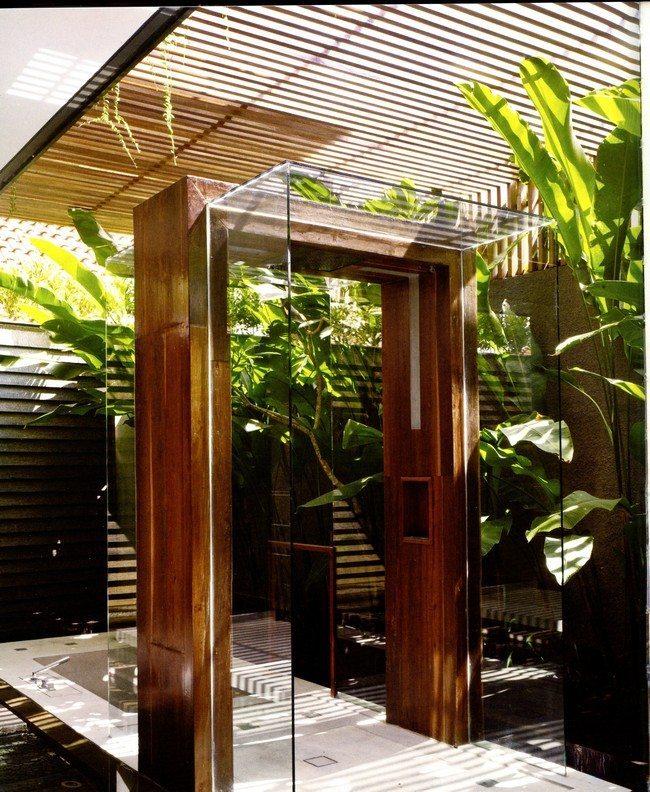 wooden gate for shoer. green leaves vegetables