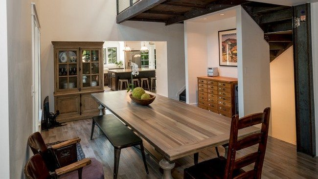 wooden oak table in the kitchen
