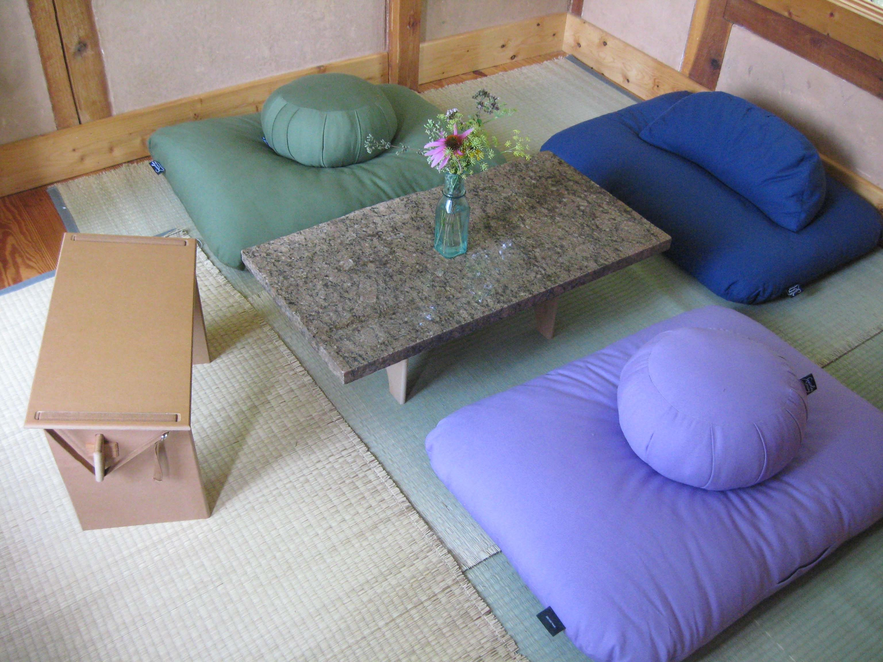 modern style floor seating blue and velvet pillows and seater around marble dining table - Dining Room Floor Mat