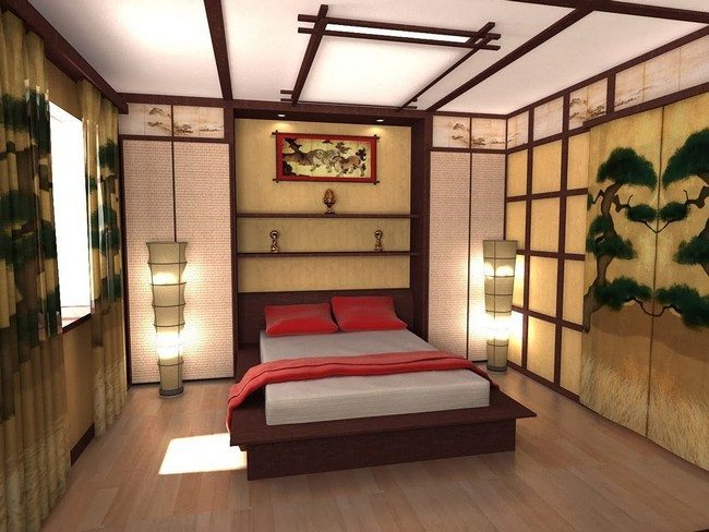 bamboo decor of the japanese bedroom with lantern