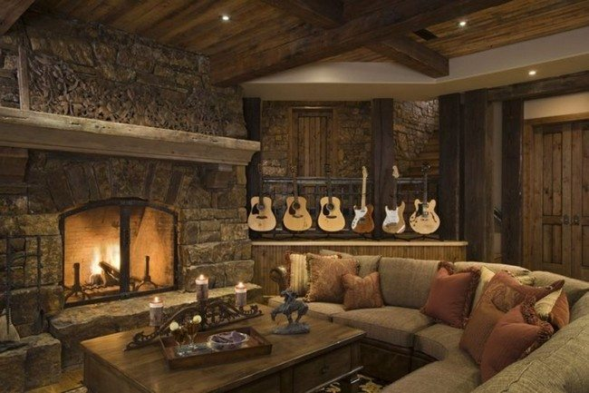 Interior Attractive Rustic Home Design Idea With Fire Place Combine With  Shaped Sofa And Square Rustic