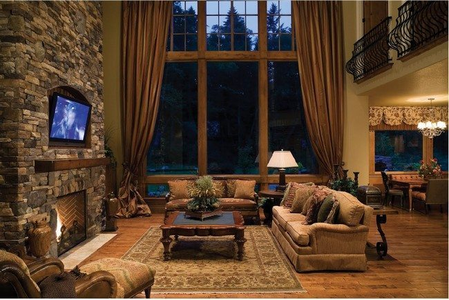 interior rustic modern living room decoration with fireplace combined with tv under it big wooden - Rustic Interiors Photos