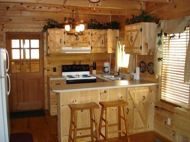 design of the kitchen pine wooden cabinet