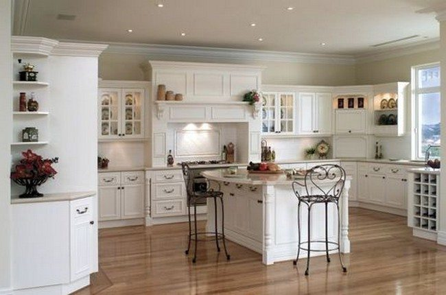 shabby kitchen white cabinet with small lights on the sealing