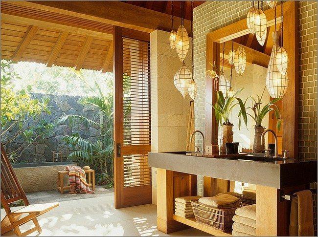 open door bathroom. with sun effect. open sink. small litghterns
