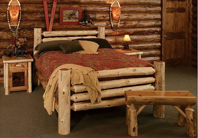 double wooden bed in the wooden house made of whole wood