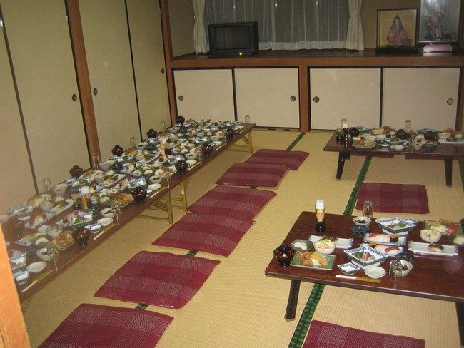 ryokan hotel dining hall with different traditional japanese or asian food