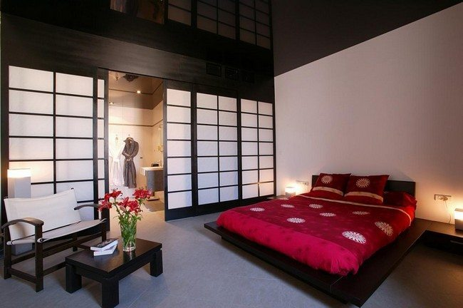 japanese bedromm in the movie with double red and walls made from wood and plastic
