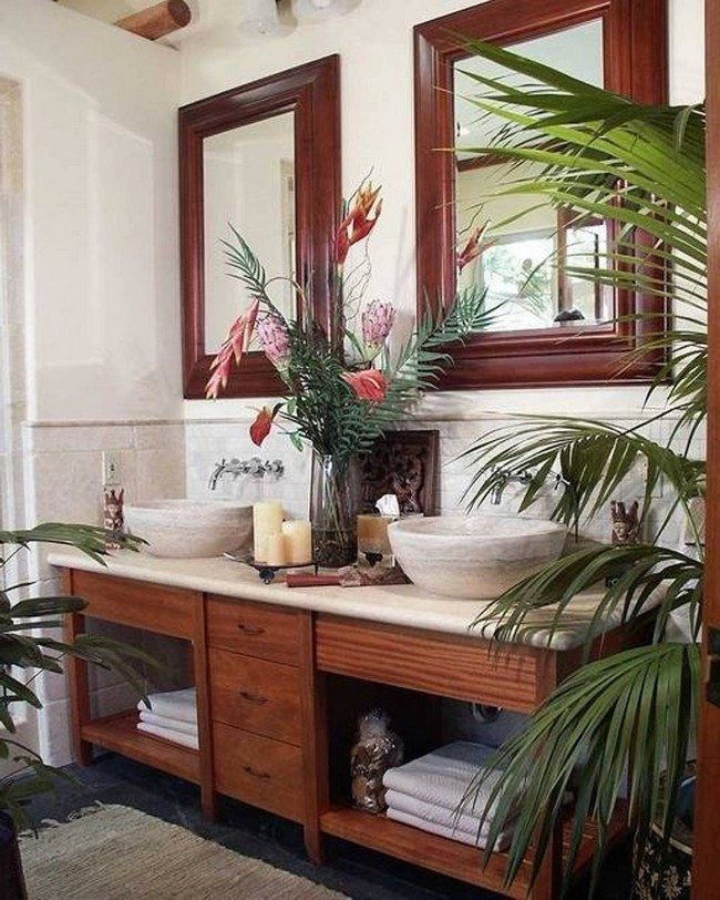 Tropical Bathroom With Houseplants And Double Vessel Sinks, 2 Big Mirorrs  In The