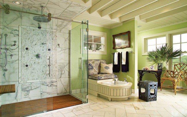 shoer with wooden floor and stone ceramic floor