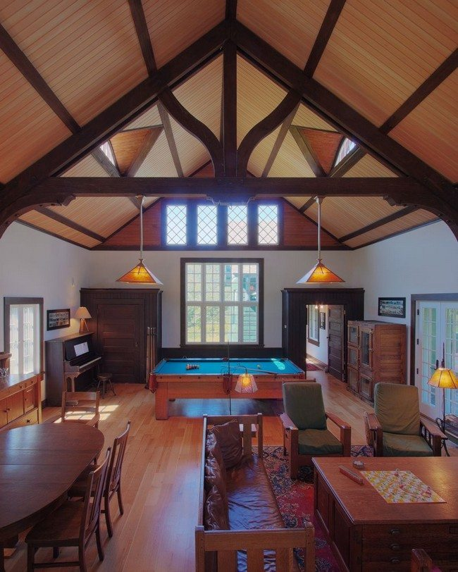 ceiling with wooden beam and laminated floor