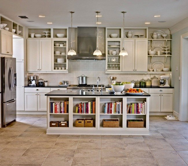 white stone tiles on the floor with white kitchen cabinet with table with cooker and some shelves