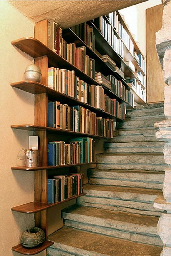 space near the stair as a book keeper sheleves