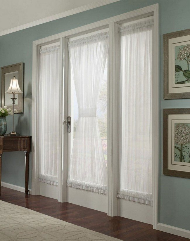 french door curtain of a white color in the olive room