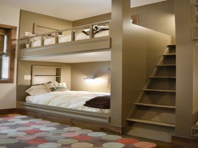 A bedroom with adult bunk bed decor around the world - Adult loft beds with stairs ...