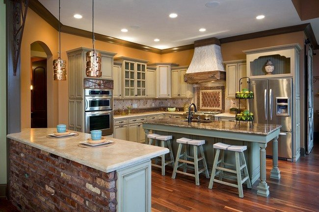 small farm rustic kitchen with marble top of the kitchen cabinet