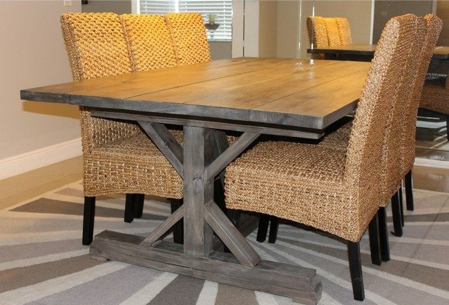 Set of straw armchairs with wooden table solid