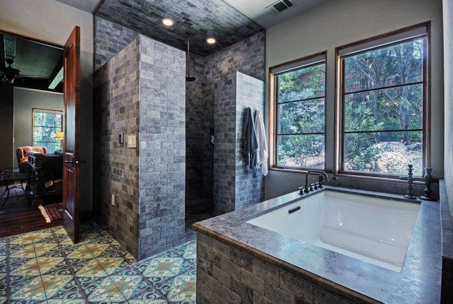Shower Without Door Whre Walls Made From Dark Brick