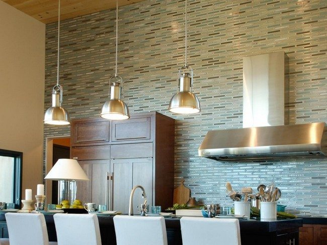 green olive color brick splash from top to bottom in the kitchen