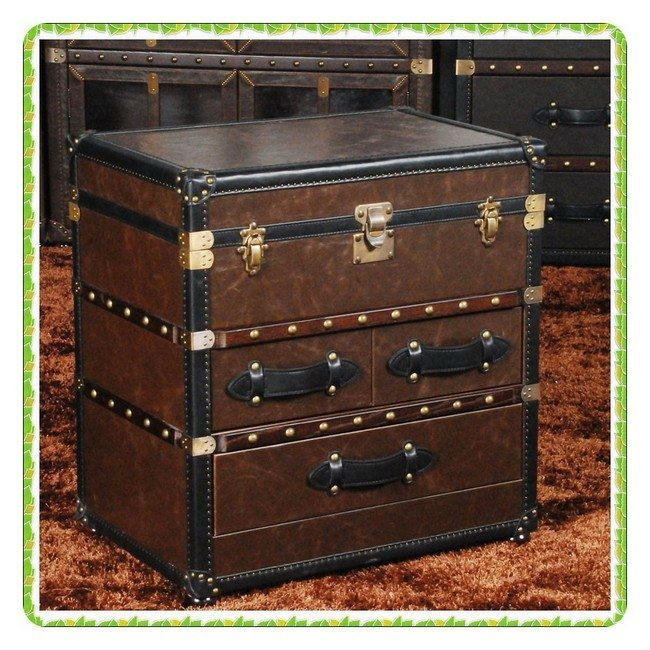 real leathe nightstand with leather handles
