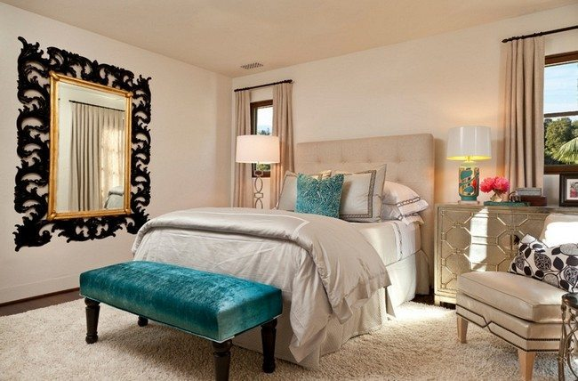 Superior Hollywood Regency Bedroom With Big Soft Double Bed Part 6
