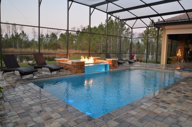 Backyard Landscape Retreats with pool and roof with fire place